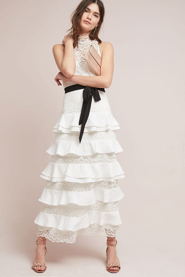 ML MONIQUE LHUILLIER Ruffled Maxi White Dress