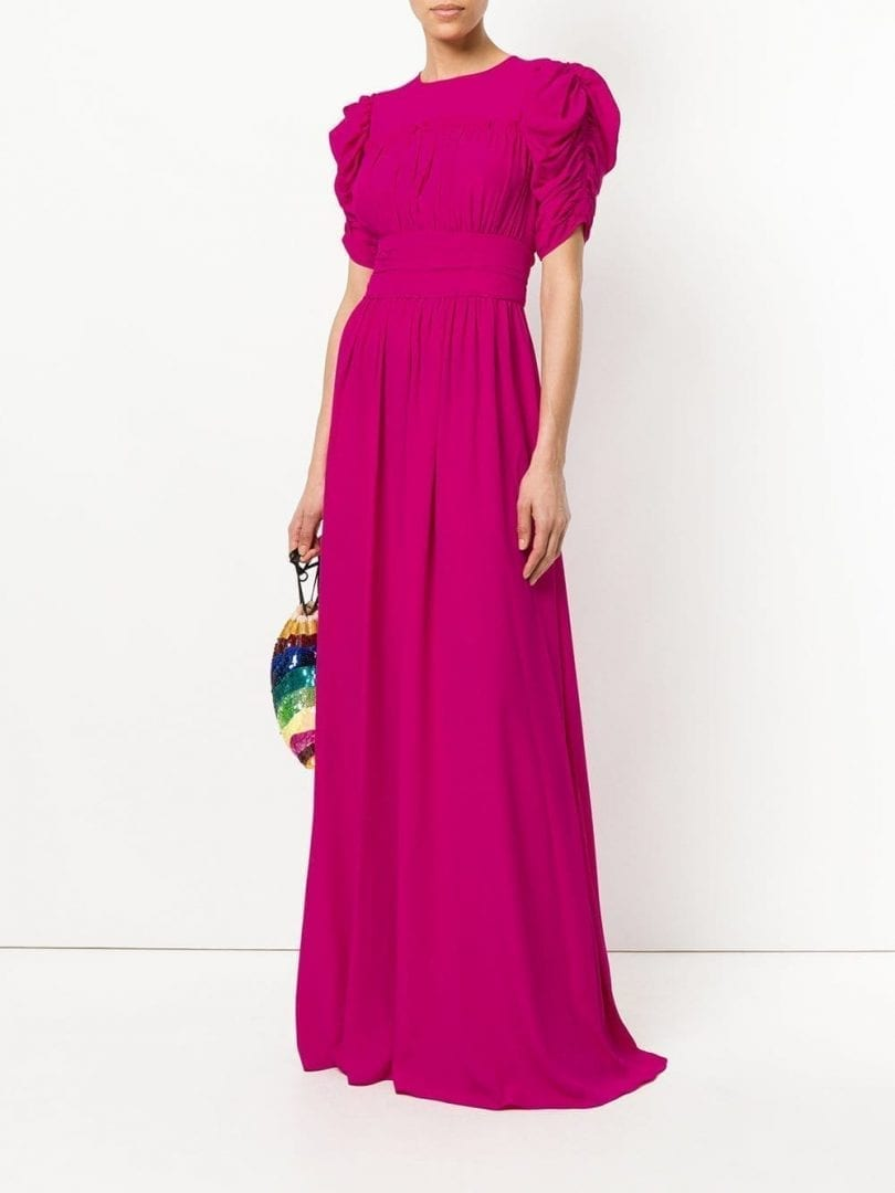 Nº21 Puff Sleeve Open Back Hot Pink Gown - We Select Dresses