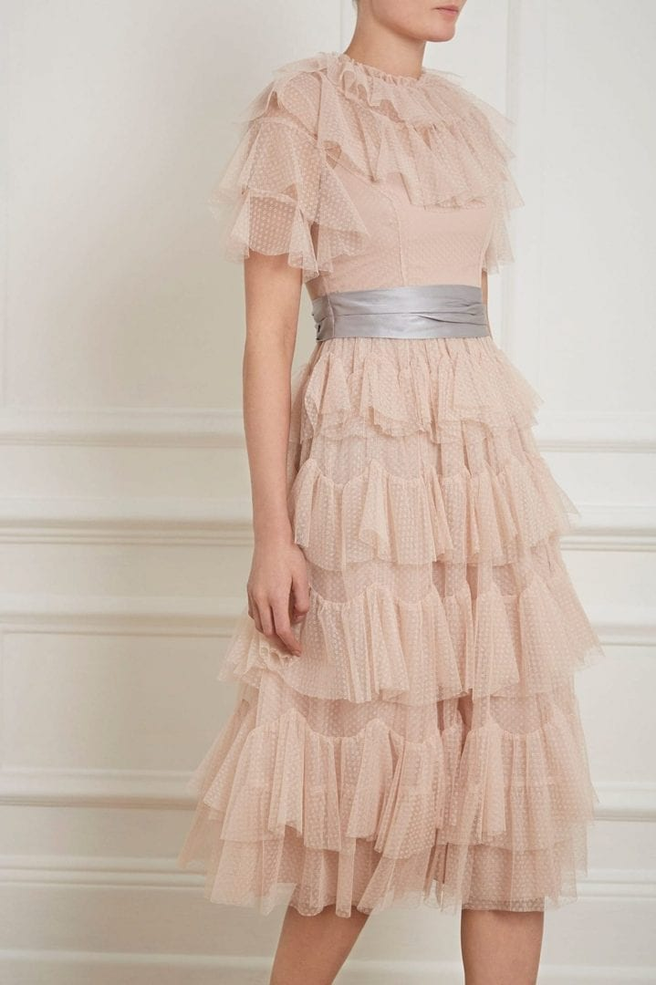 NEEDLE AND THREAD Scallop Tulle Rose Quartz Dress