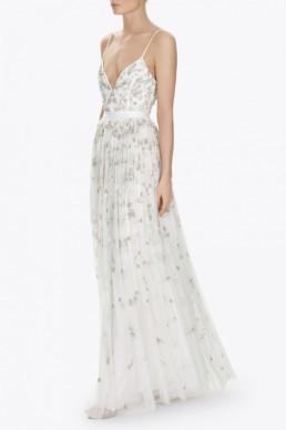NEEDLEANDTHREAD Astral Maxi White Dress
