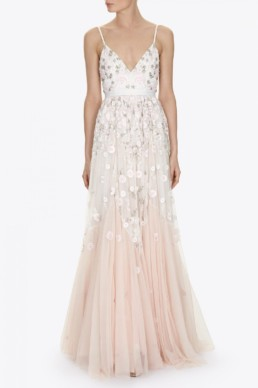 NEEDLEANDTHREAD Trailing Tiered Blush Gown