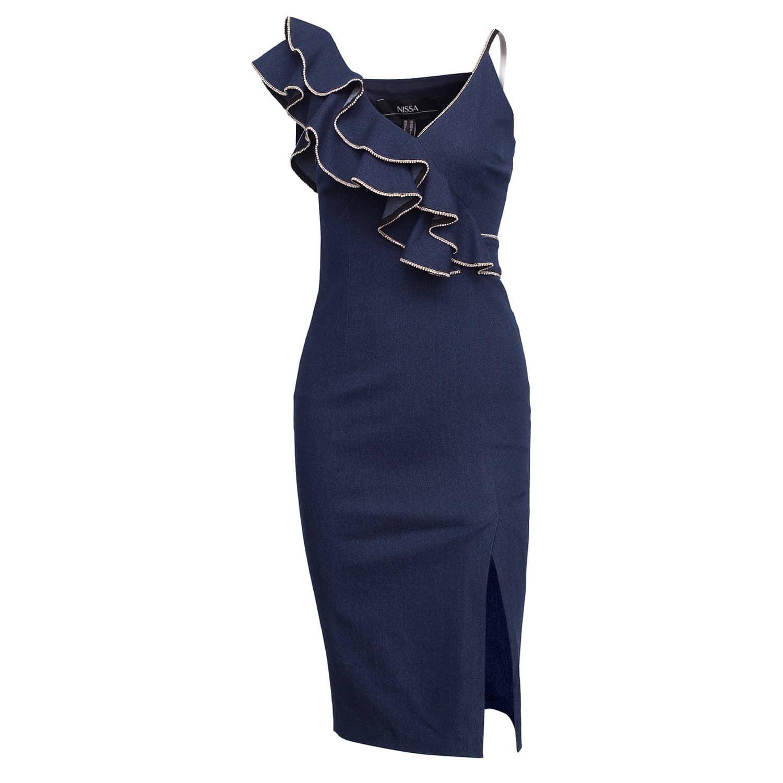 NISSA Bust Ruffle Elegant Navy Dress
