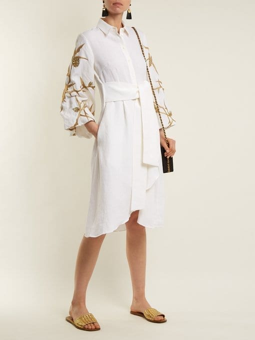 Osman Ariana Embroidered Linen White Gold Tone Dress