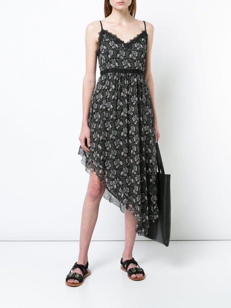 PAIGE Floral Asymmetric Midi Black / Grey Dress