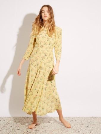 RAEY Bracelet Sleeve Silk Yellow Dress. Floral Tea Dresses To Cause A Stir This Spring
