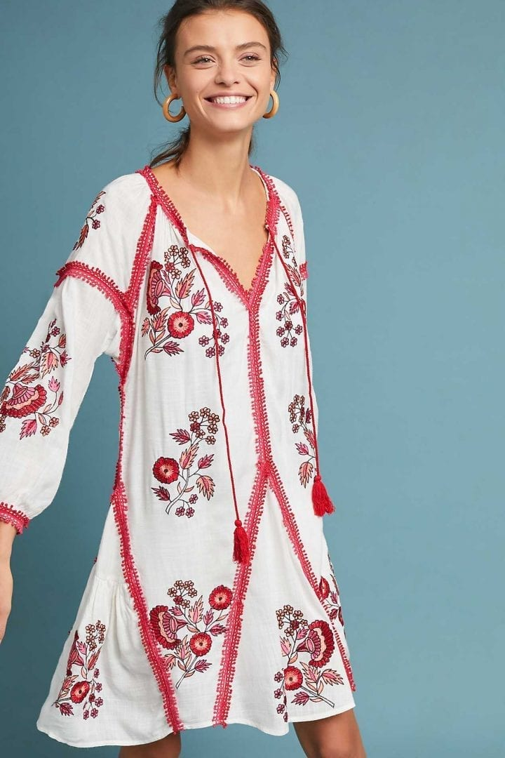 ae3917cc06779 RANNA GILL Hadley Embroidered Tunic Neutral White Dress