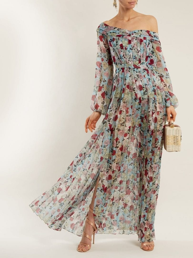 RAQUEL DINIZ Esther Off The-shoulder Multi / Floral Printed Gown ...