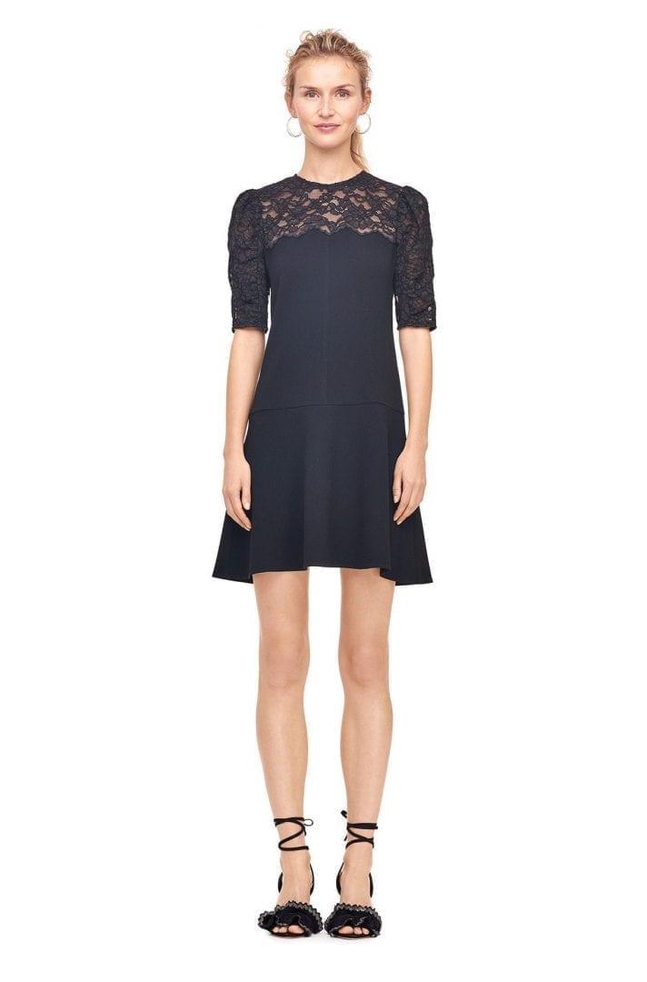 Rebeccataylor Crepe Corded Lace Black Dress