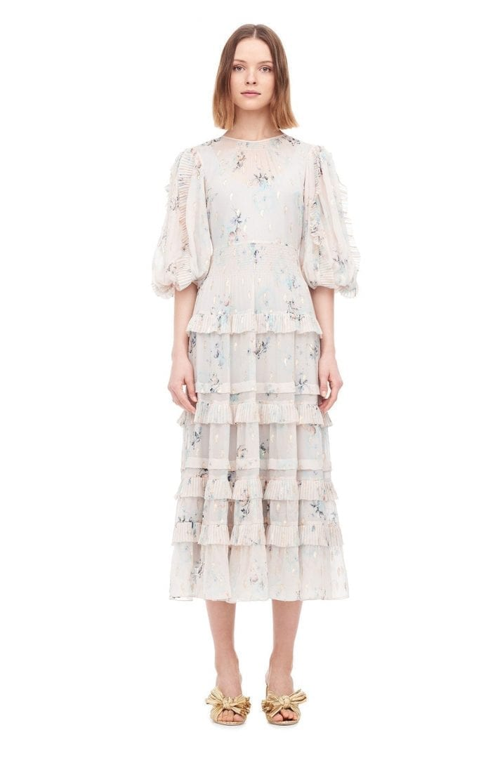 REBECCATAYLOR Faded Floral Metallic Clip Stone Dress