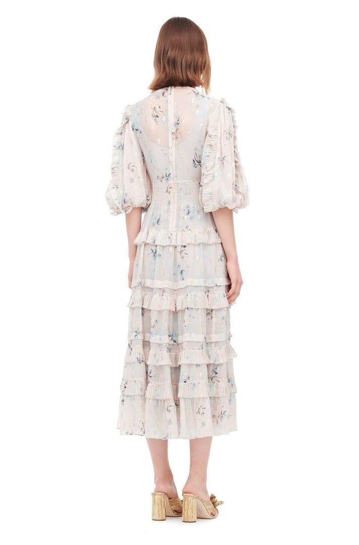 493c10c0d REBECCA TAYLOR Faded Floral Metallic Clip Stone Grey Dress - We ...