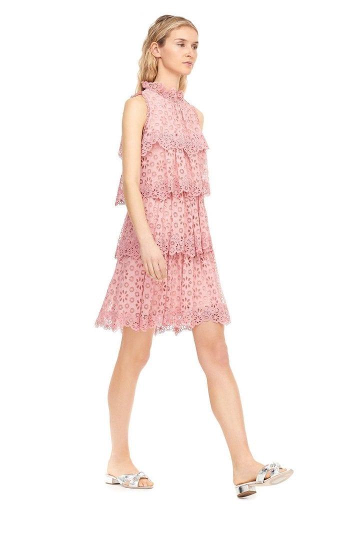 REBECCA TAYLOR Pinwheel Eyelet Tiered Peony Pink Dress - We Select ...