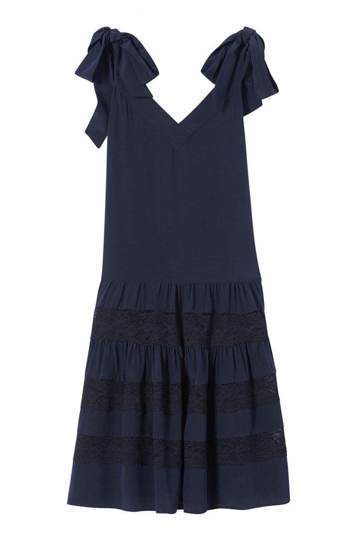 Rebeccataylor Silk Lace Navy Black Dress