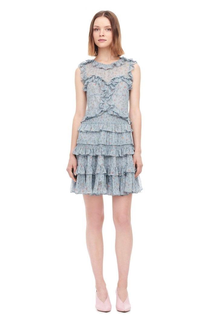 REBECCATAYLOR Vine Chiffon Ruffle Mint / Printed Dress