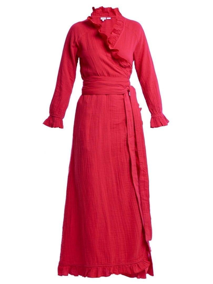 Rhode Resort Jagger Ruffle Trimmed Cotton Wrap Hot Pink Dress