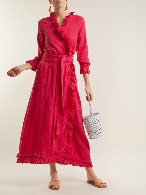 Rhode Resort Jagger Ruffle Trimmed Cotton Wrap Hot Pink Dress We