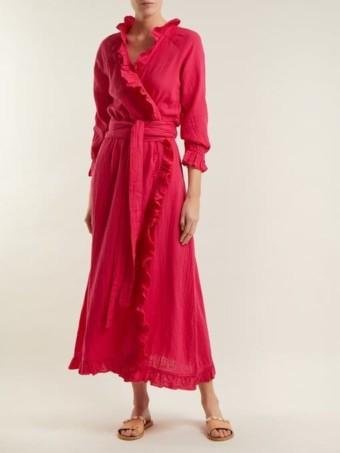 RHODE RESORT Jagger Ruffle-trimmed Cotton Wrap Hot Pink Dress