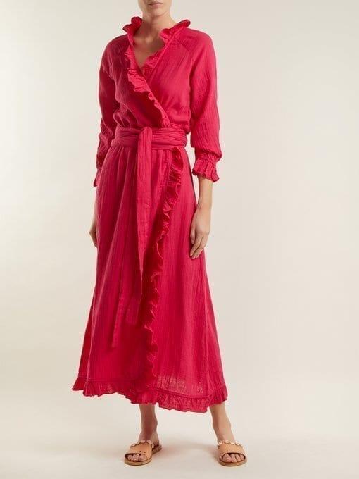 00f92bc296ea RHODE RESORT Jagger Ruffle-trimmed Cotton Wrap Hot Pink Dress - We ...