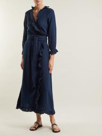 RHODE RESORT Jagger Ruffle-trimmed Cotton Wrap Navy Blue Dress