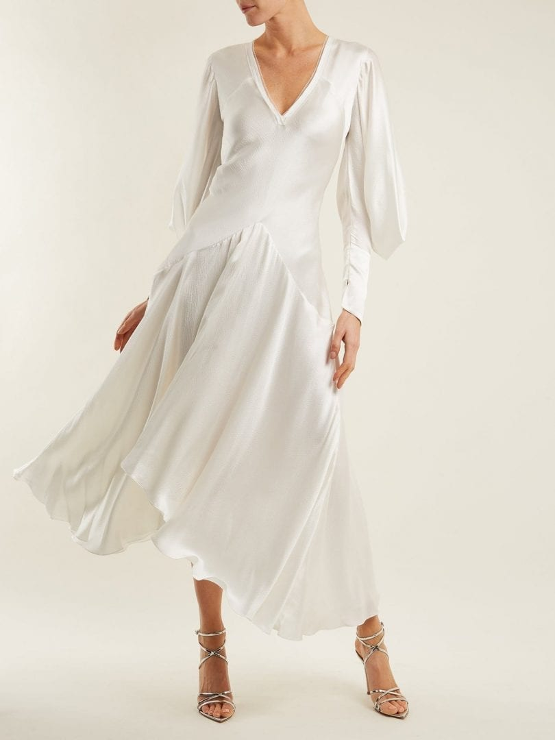 ROKSANDA Zenku Asymmetric-hem Silk White Dress