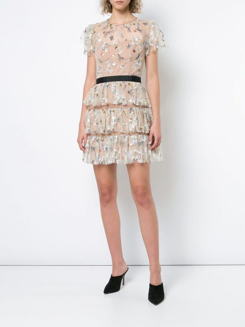 SELF-PORTRAIT Floral Embroidered Tiered Nude Dress