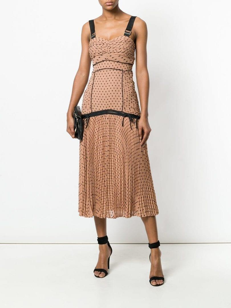 SELF-PORTRAIT Polka Dot Dark Salmon Dress - We Select Dresses