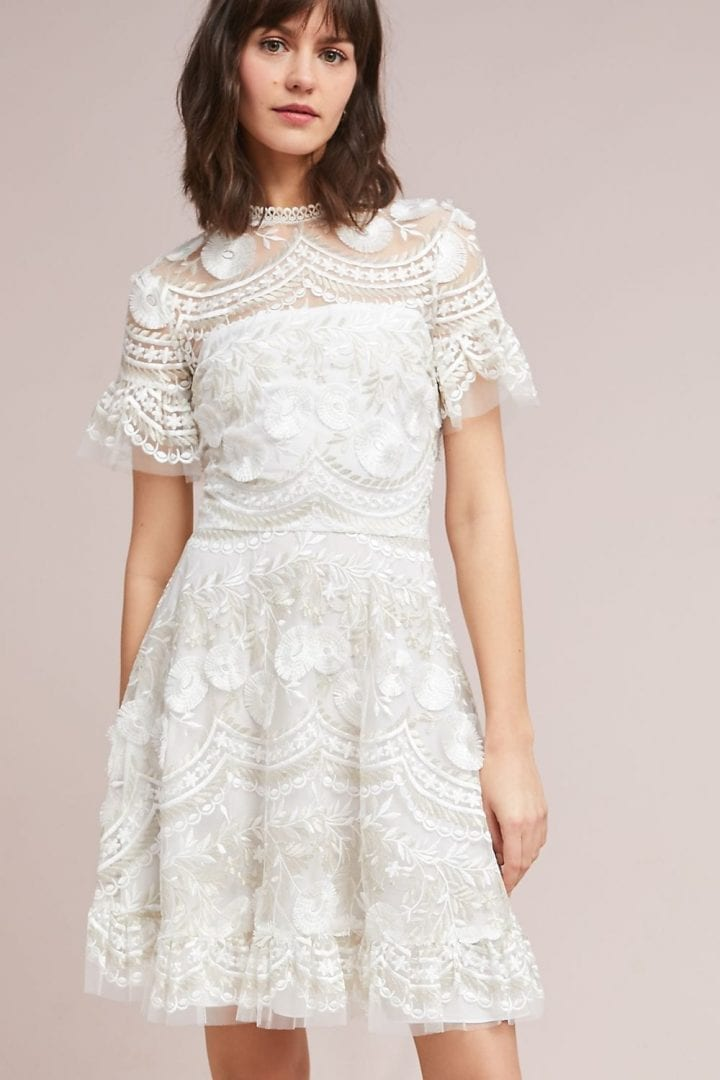 SHOSHANNA Blanche Embroidered White Dress