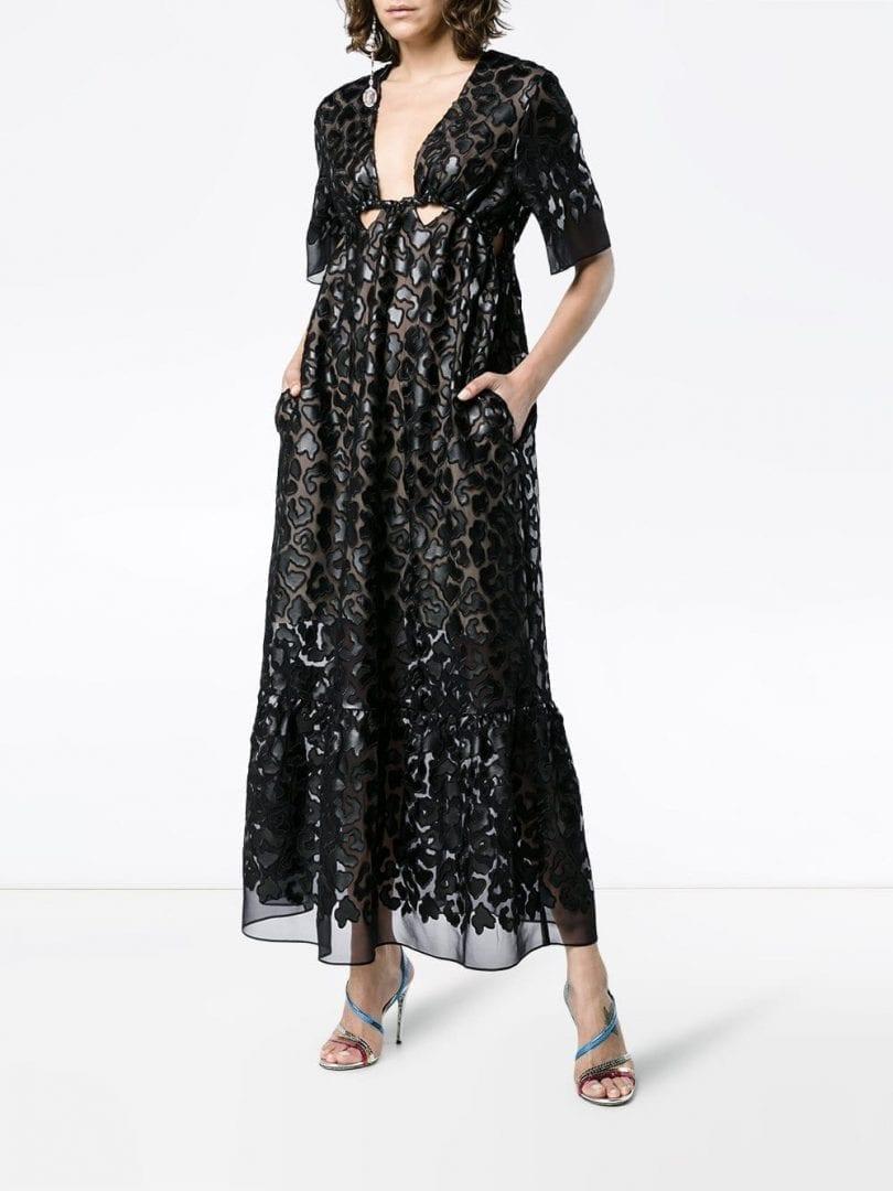 STELLA MCCARTNEY Animalier Leopard Sheer Silk Maxi Black Dress - We ...