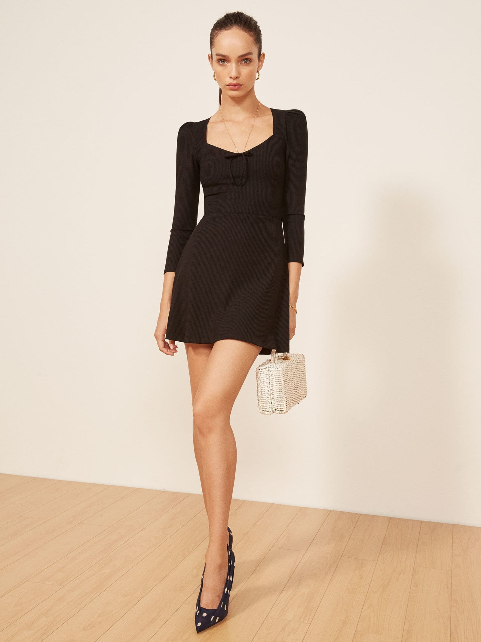 THEREFORMATION Annabella Black Dress