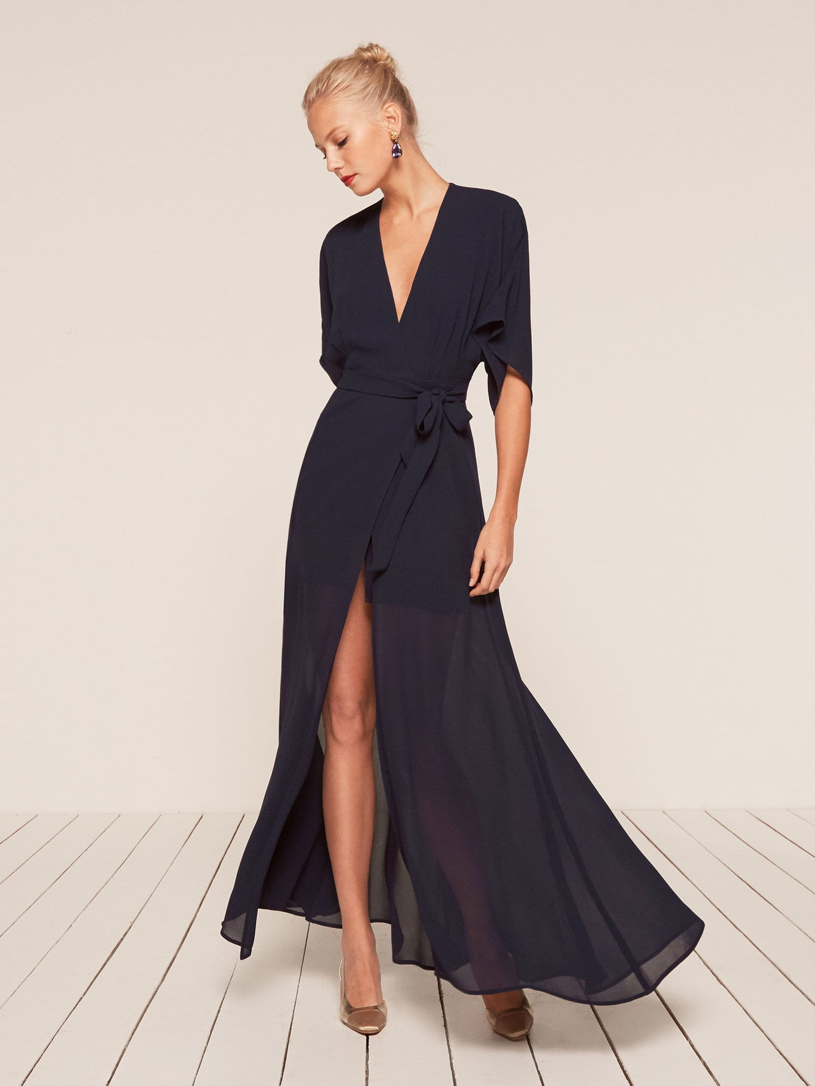 THEREFORMATION Winslow Navy Dress