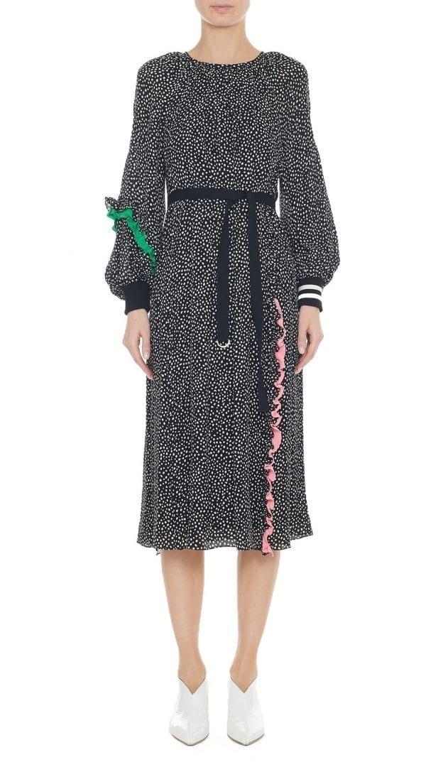 TIBI Martine Ruffle Shirred Neck Black Dress