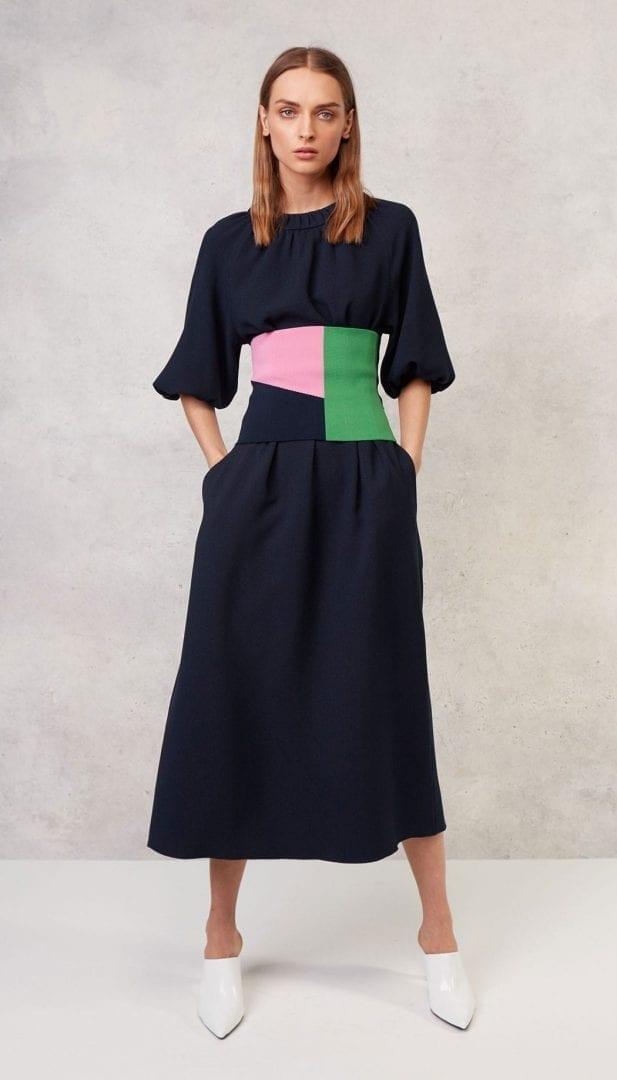 TIBI Mica Crepe Shirred Neck Navy Dress