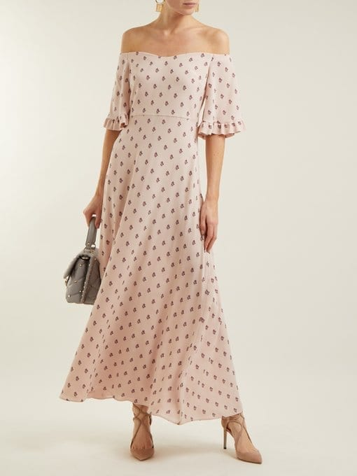 Valentino Silk Crepe Powder Pink Fl Print Dress