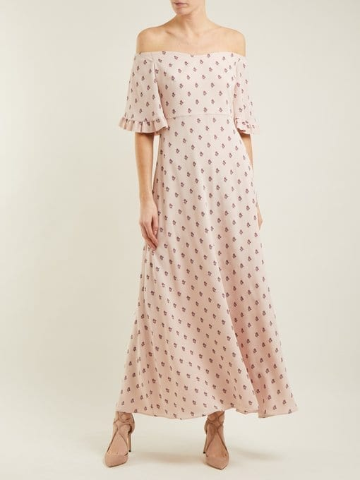 VALENTINO Silk-crepe Powder Pink / Floral Print Dress