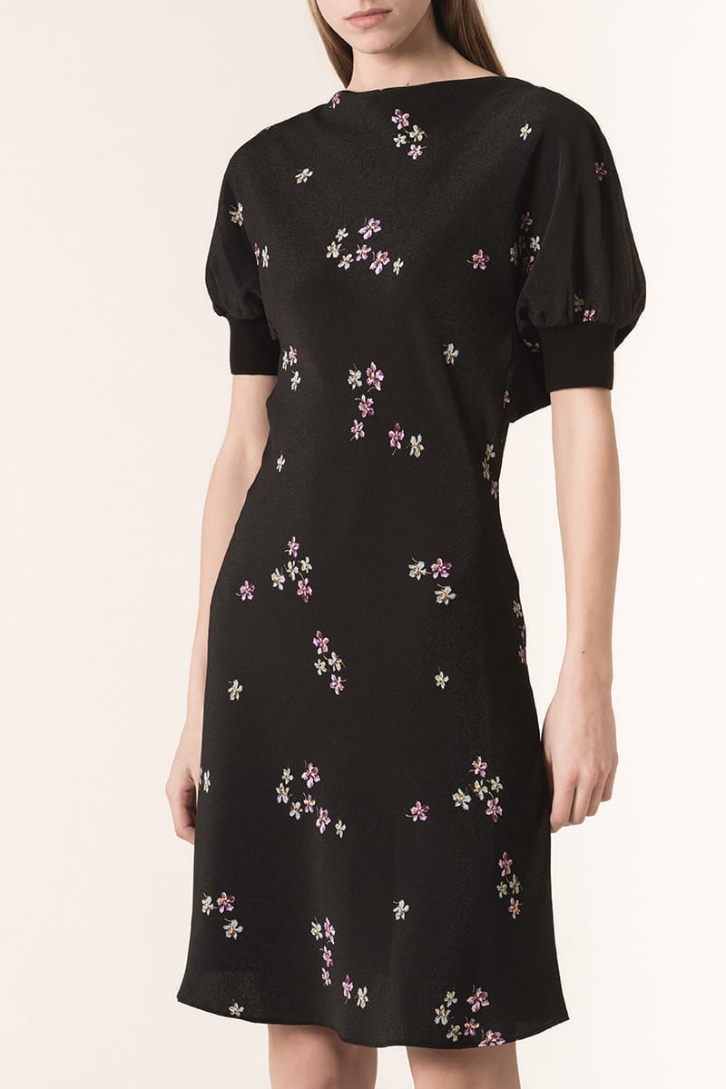 VANESSABRUNO Seersucker issou Violets Black / Printed Dress