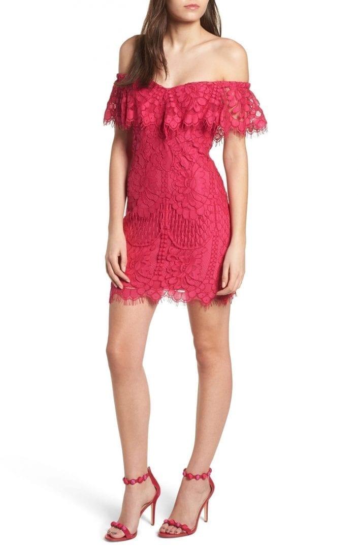 WAYF Venice Off the Shoulder Lace Mini Fuchsia Dress