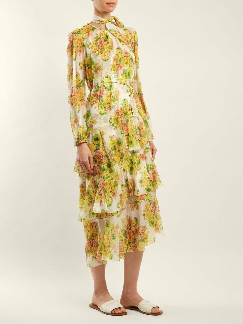 Zimmermann Golden Silk White Yellow Fl Printed Dress