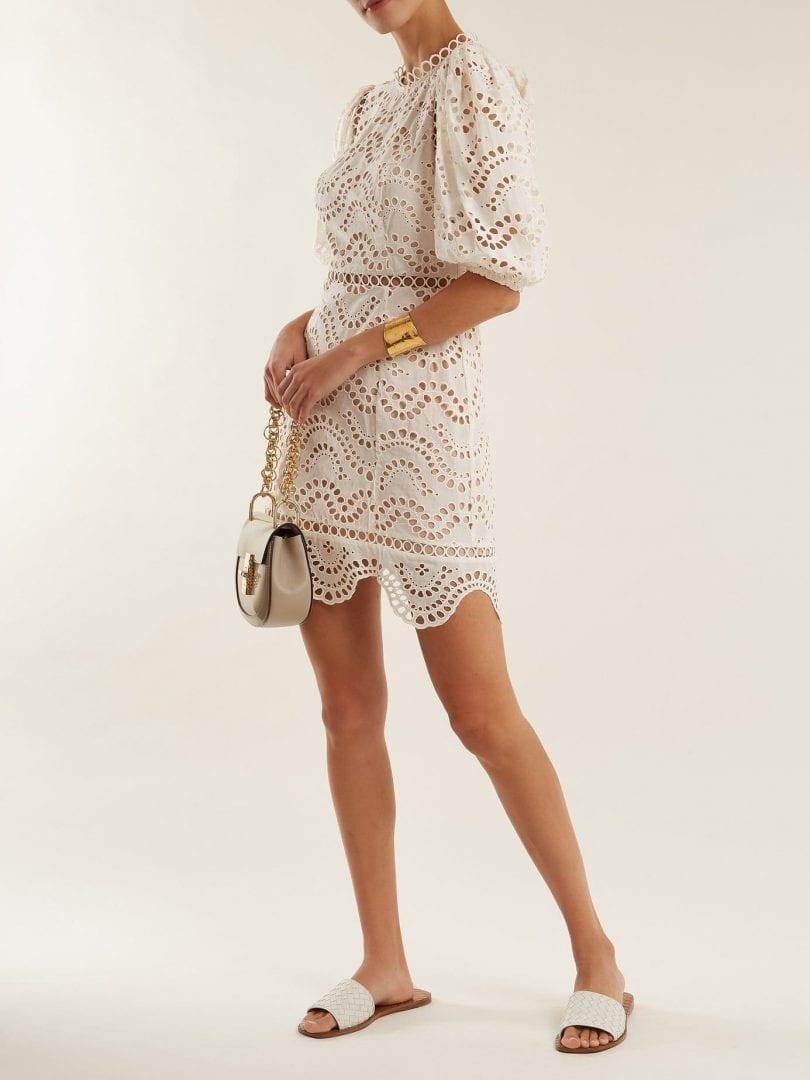 ZIMMERMANN Jaya Wave Cotton Off White Dress