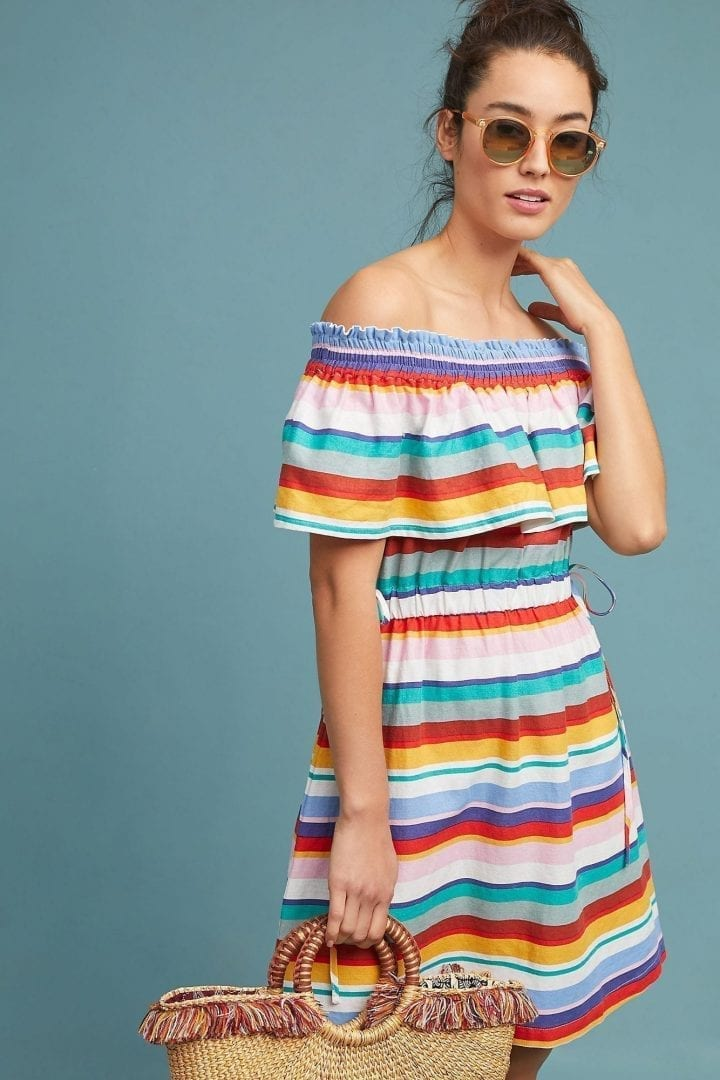 4OUR DREAMERS Striped Off-The-Shoulder Multicolored Dress