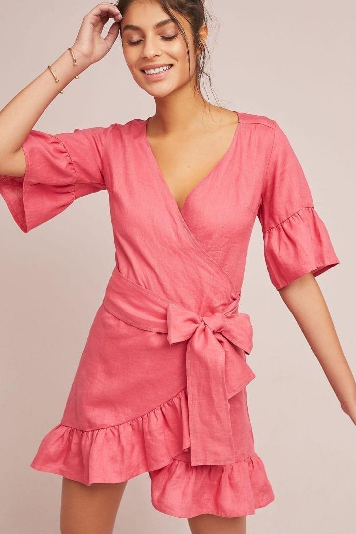 4OUR DREAMERS Talulah Linen Wrap Coral Dress