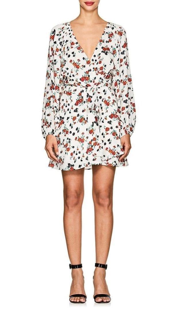 A.L.C. Carlo Silk Tie-Waist white / Floral Printed Dress