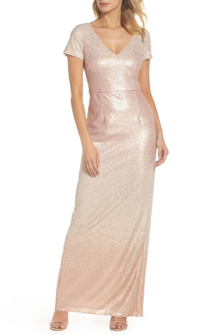 ADRIANNA PAPELL Ombré Sequin Blush Gown