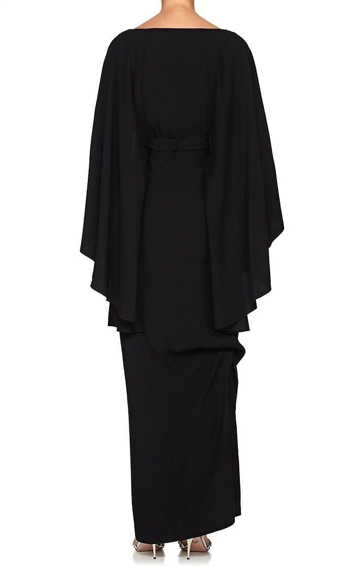 ALBERTA FERRETTI Cape-Sleeve Cady Black Gown