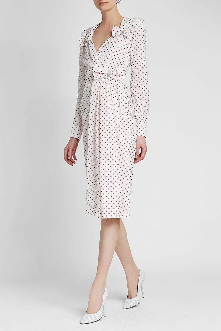 ALESSANDRA RICH Taffeta White / Printed Dress