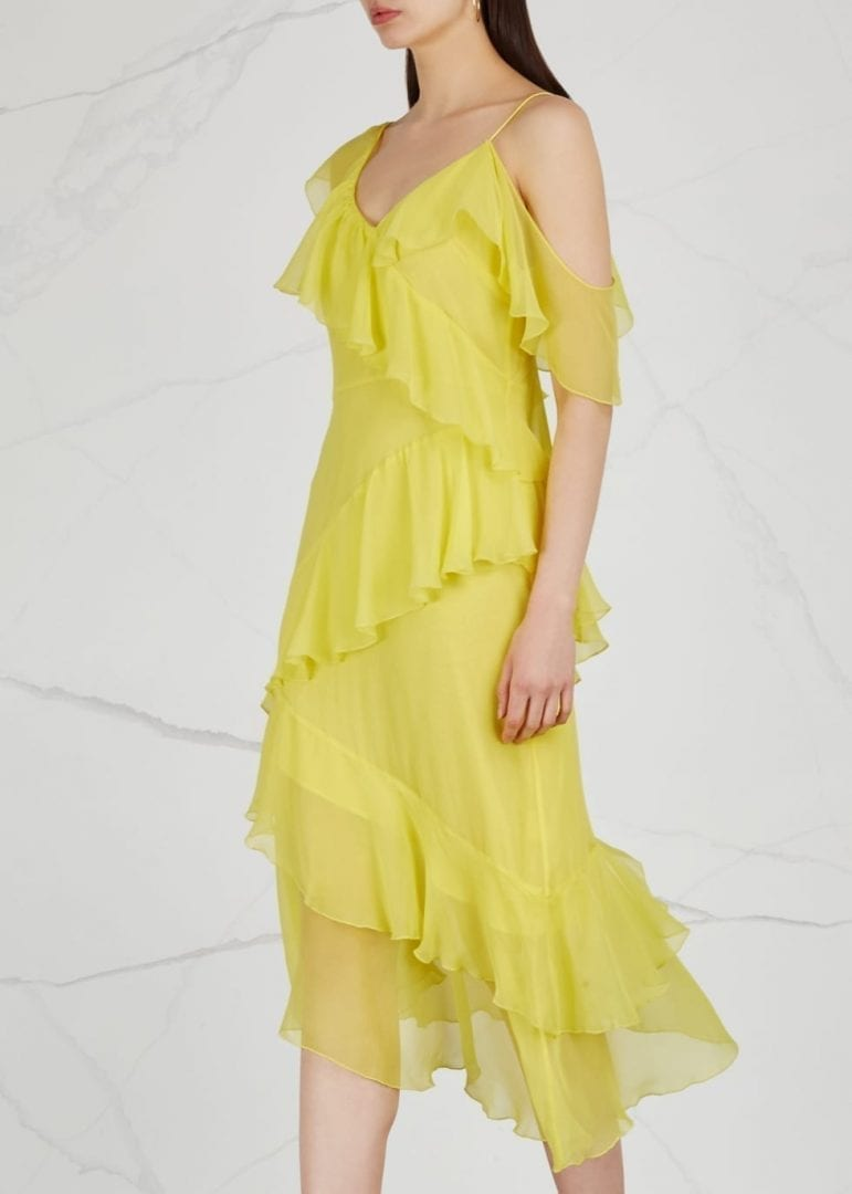 alice olivia olympia asymmetric silk chiffon bright yellow dress