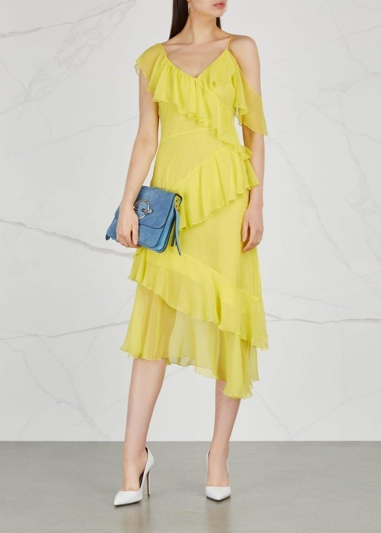 Alice Olivia Olympia Asymmetric Silk Chiffon Bright Yellow Dress