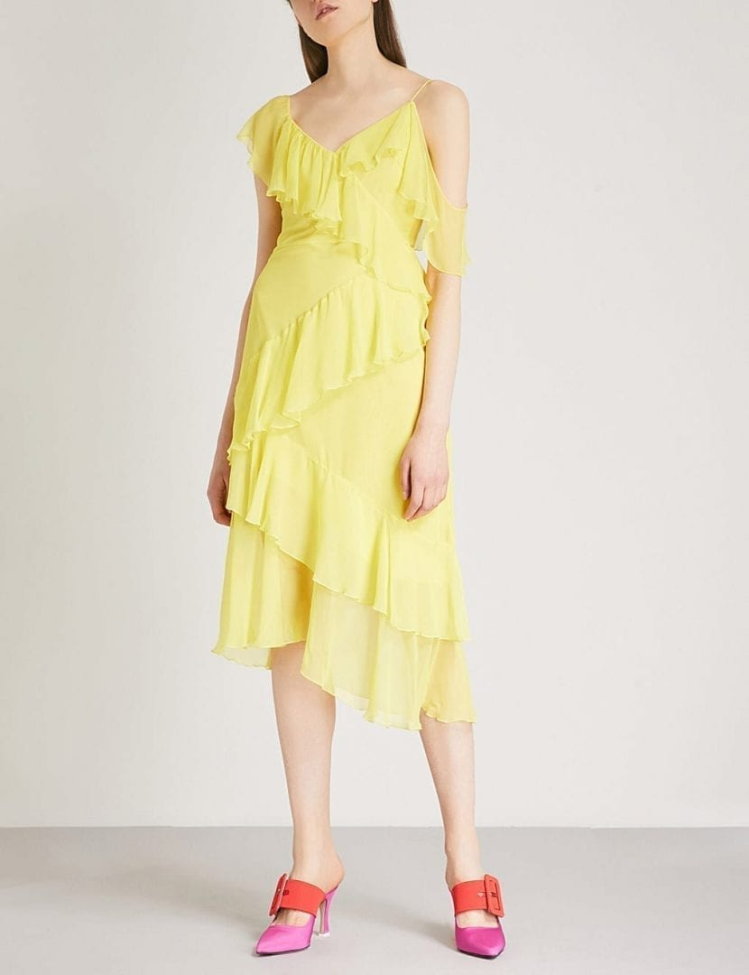 ALICE & OLIVIA Olympia Ruffled Silk-chiffon Lemon Dress