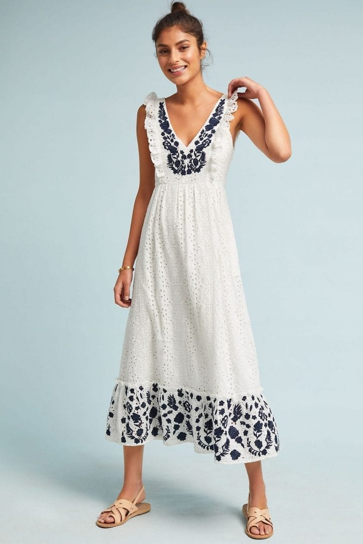 40807cda6 ALLISON Embroidered Eyelet Midi White Dress - We Select Dresses