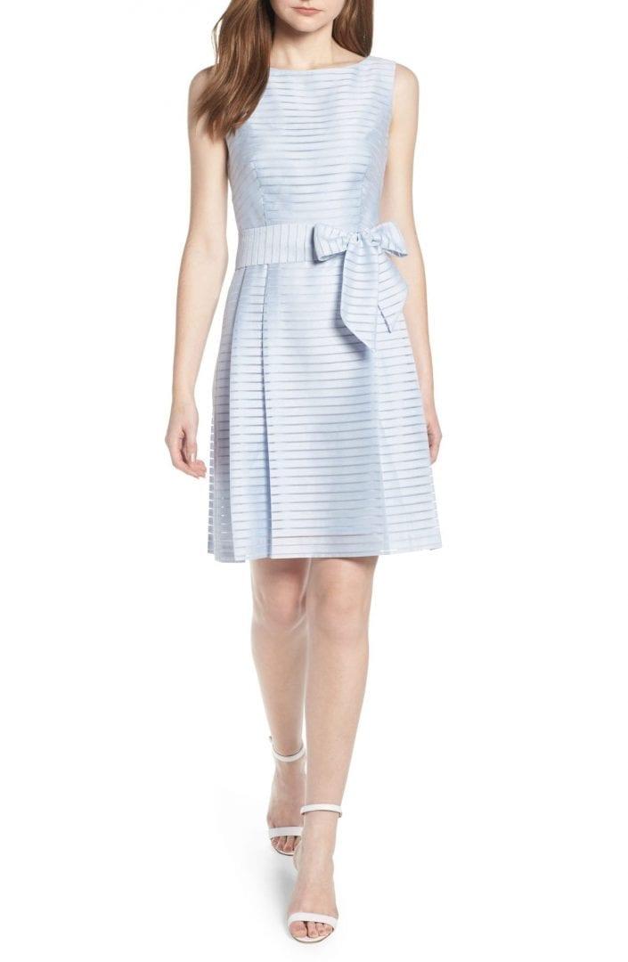 Anne Klein New York Sleeveless Shadow Stripe Harbor Blue Dress