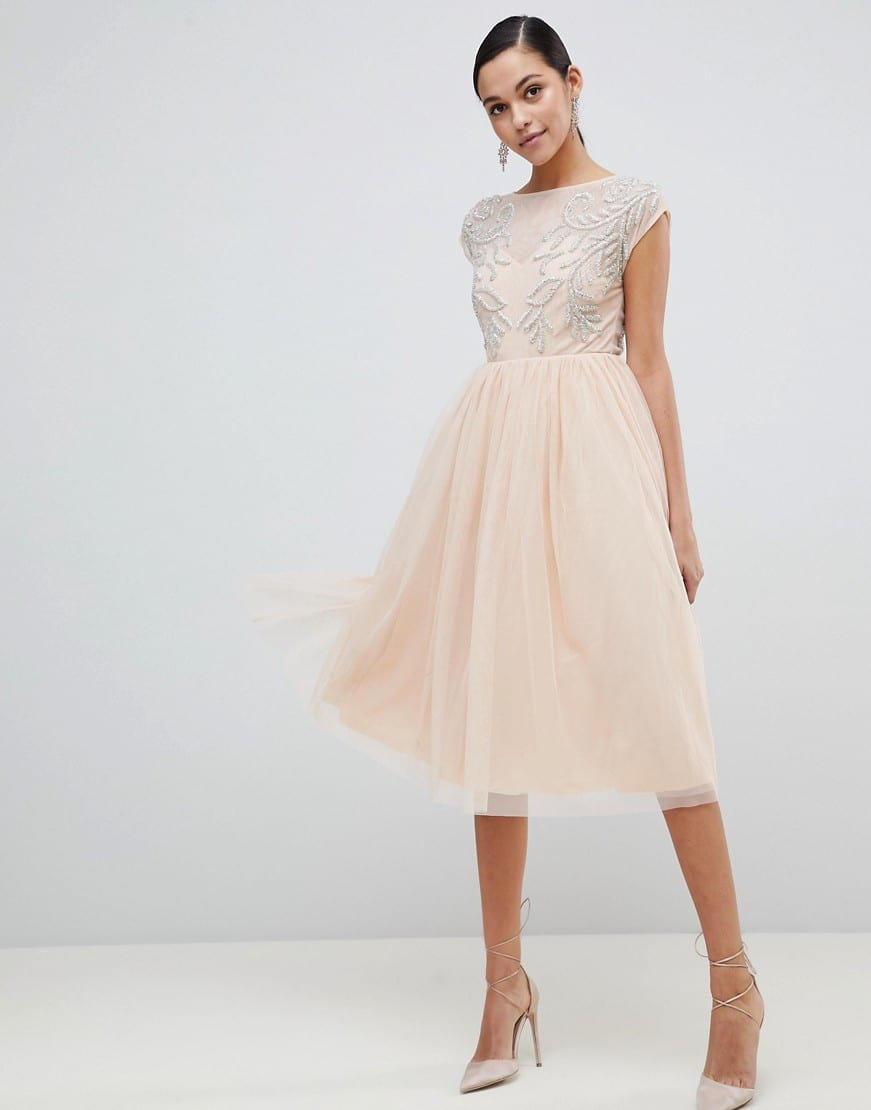 ASOS DESIGN Embellished Open Back Tulle Midi Nude Dress