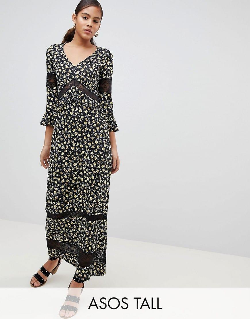 ASOS DESIGN Lace Inserts Tall Maxi Tea Multi / Floral Printed Dress